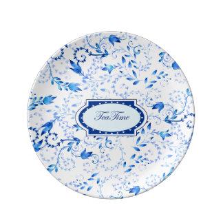 """Dekorative Porzellan-Platte """"der Tee-Zeit-"""" - 21,6 Teller"""