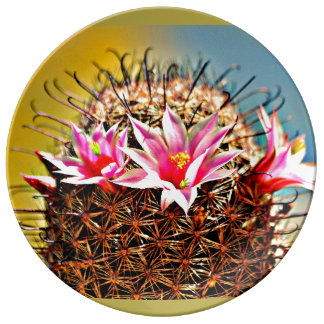 Dekorative Porzellan-Platte - Kaktus-Blume Porzellanteller