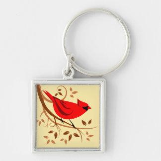 Dekorative rote Kardinals-Geschenke Silberfarbener Quadratischer Schlüsselanhänger
