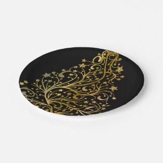 Dekorativer schwarzer Goldchic-festlicher Pappteller