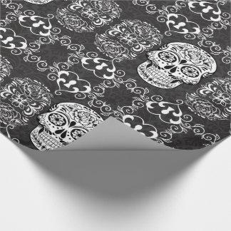 Dekorativer ZuckerschädelSchwarz-weißer gotischer Geschenkpapier