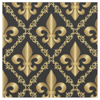 Dekoratives goldenes Lilien-Muster Stoff