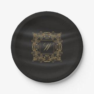 Dekoratives Rahmen-Monogramm auf schwarzer Seide Pappteller