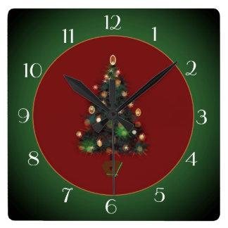 Dekoratives XmasTree rotes /Green > Weihnachtsuhr Quadratische Wanduhr