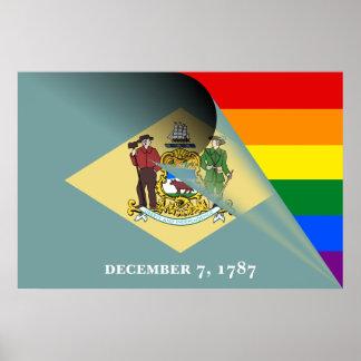 Delaware-Flaggen-Gay Pride-Regenbogen Poster