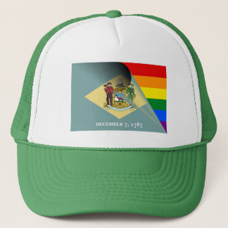 Delaware-Flaggen-Gay Pride-Regenbogen Retromütze