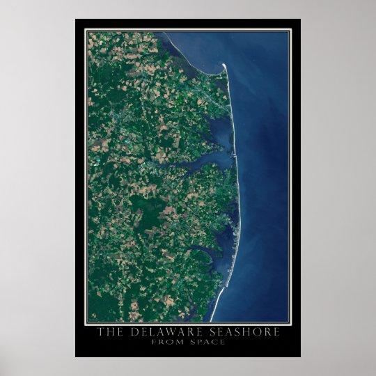 Delaware-Küste von der Raum-Satelliten-Karte Poster