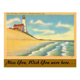 Delaware, Leuchtturm, Rehoboth Strand Postkarte