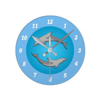 Delfinwanduhr Runde Wanduhr