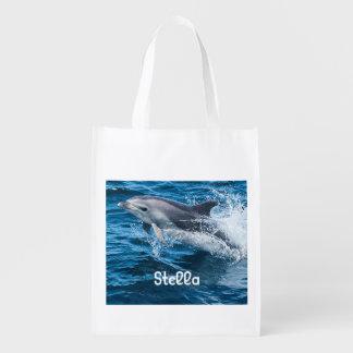 Delphin, der personalisierte wiederverwendbare wiederverwendbare einkaufstasche