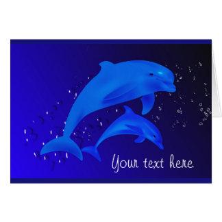 Delphin-Kobalt-Blau-Ozean-Seekundenspezifische Mitteilungskarte