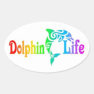 Delphin-Leben Ovaler Aufkleber