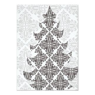 Deluxer Schwarzweiss-Damast-Weihnachtsbaum Karte