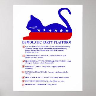 Democatic Party-Plattform-lustige politische Katze Poster