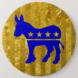 Demokrat-Esel-Blau-Gold Runder Button 15,3 Cm