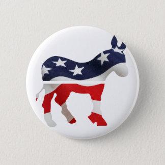 Demokrat-Esel mit USA-Flagge gelegt Runder Button 5,1 Cm