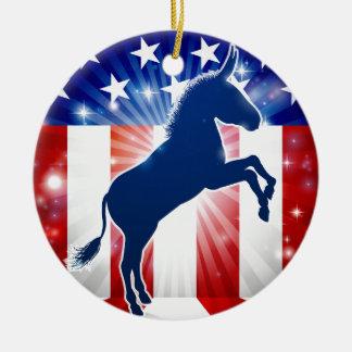 Demokrat-Esel-politisches Maskottchen Rundes Keramik Ornament