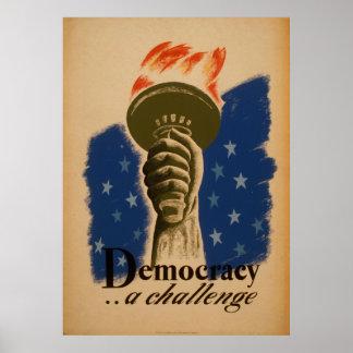 Demokratie ein Vintages Plakat der