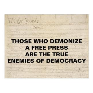 Demonize Presse-Feind des Demokratie-ersten Postkarte