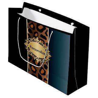 Denim-Blau, Schwarzes und Jaguar-Druck Große Geschenktüte