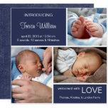 Denim multiple de bleu de la naissance carton d'invitation  13,33 cm