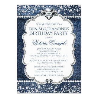 Denim und Diamant Bling Geburtstags-Party Karte