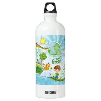 Denke ökologisch-Bewusstseins-glückliches Zitat Aluminiumwasserflasche