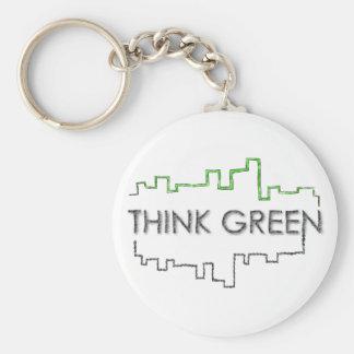 Denke ökologisch-Stadtskyline-Entwurf | Keychain Schlüsselanhänger