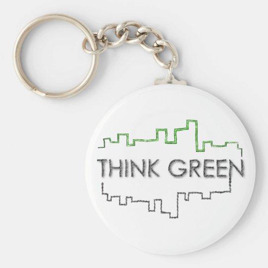 Denke ökologisch-Stadtskyline-Entwurf   Keychain Standard Runder Schlüsselanhänger