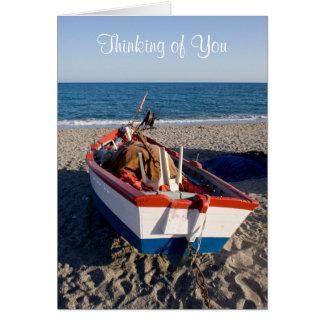 Denken an Sie Cape Cod-Boot auf Strand-Karte Karte
