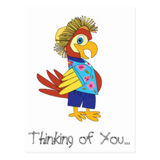 Denken an Sie Insel-Papageien-Postkarte Postkarte