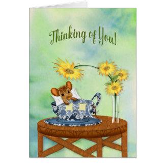 Denken an Sie - Maus beim Tee-Schalen-Stillstehen Karte