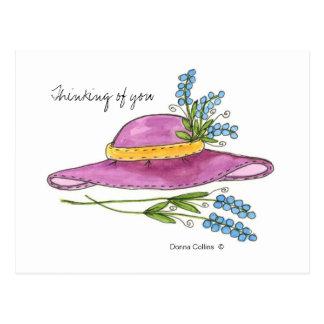 Denken an Sie Rosa-Hut-Postkarte Postkarte