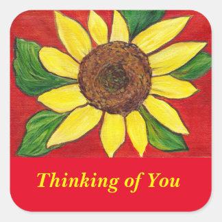 Denken an Sie Sonnenblume-Aufkleber Quadratischer Aufkleber
