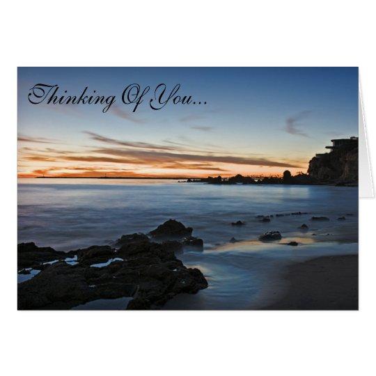 Denken an Sie Sonnenuntergang-Strand-Karte Karte