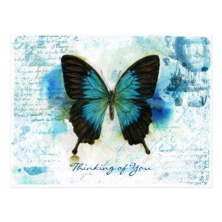 Denken an Sie viktorianische Art des blauen Postkarte