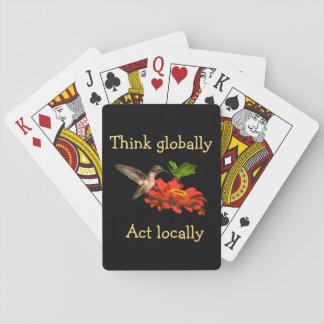 Denken Sie global Taten-am Ort rote Spielkarten