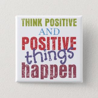 Denken Sie Positiv Quadratischer Button 5,1 Cm