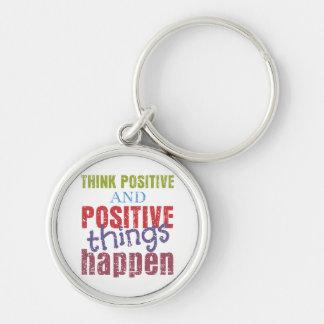 Denken Sie Positiv Silberfarbener Runder Schlüsselanhänger