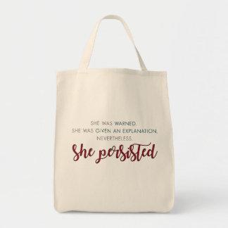 Dennoch bestand sie Tasche - volles Zitat fort
