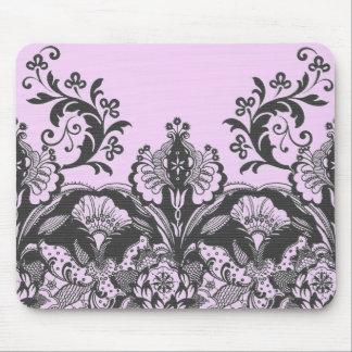 Dentelle noire<Pink> Mousepad Tapis De Souris