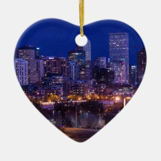 Denver-Skyline nachts - Colorado Keramik Ornament