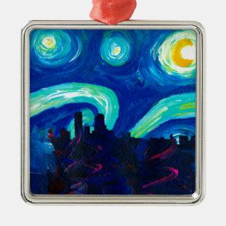 Denverskyline-Silhouette nachts Starry Silbernes Ornament