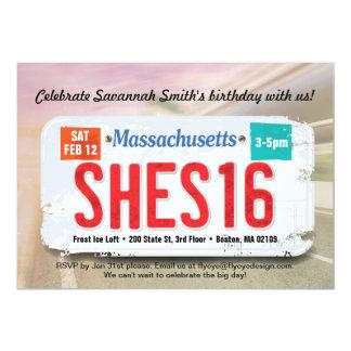 Der 16. Geburtstag Massachusetts des Mädchens 12,7 X 17,8 Cm Einladungskarte