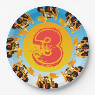 Der 3. Geburtstags-Baggerbau-LKW-Party des Kindes Pappteller