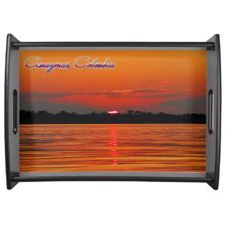 Der Amazonas-Sonnenuntergang-Serviertablett Tablett