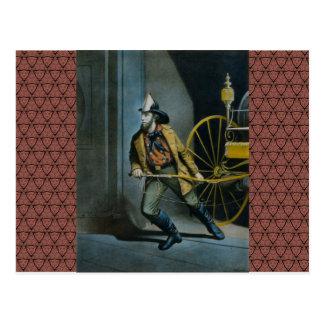 Der amerikanische Feuerwehrmann Postkarte