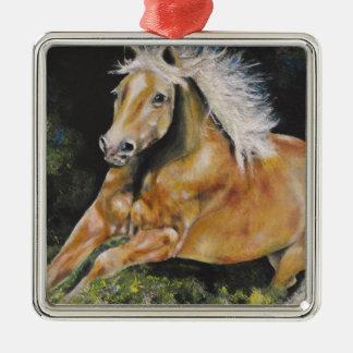 Der amerikanische Mustang Quadratisches Silberfarbenes Ornament