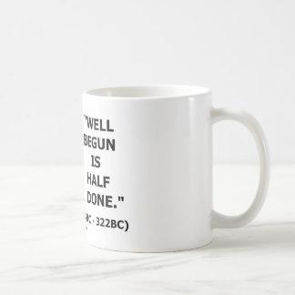 Der angefangene Brunnen ist Hälfte erfolgtes Kaffeetasse
