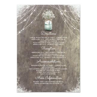 Der Atem-Hochzeits-Details des rustikalen Karte